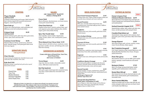Click the image for a downloadable/printable copy of the Fortun's Kitchen Dinner/Takeout menu.
