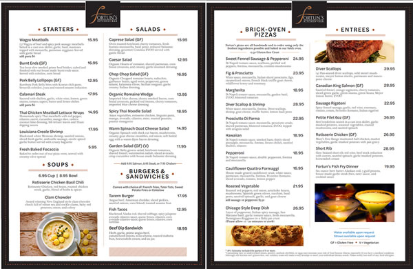 Fortuns Kitchen Dinner/Takeout Menu