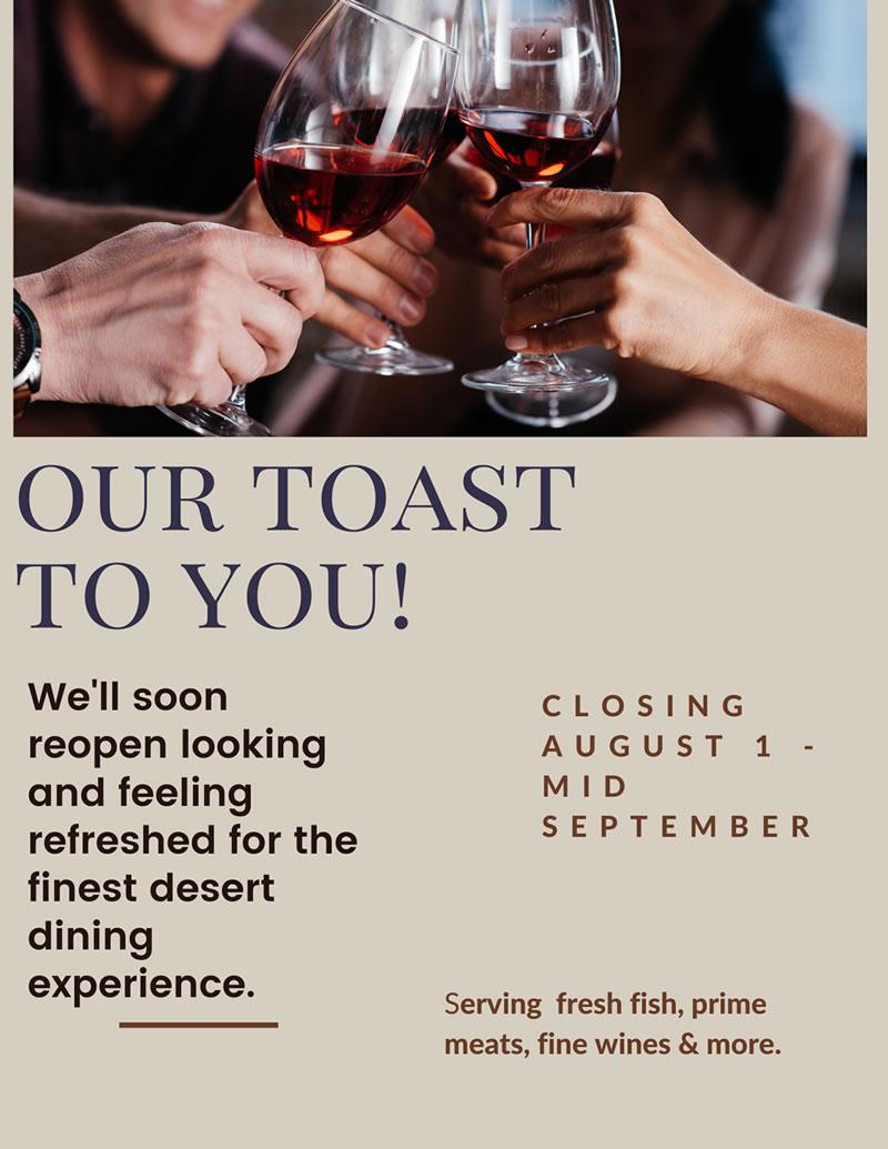 Fortun's Kitchen + Bar Refresh Flyer - Temporary Closing